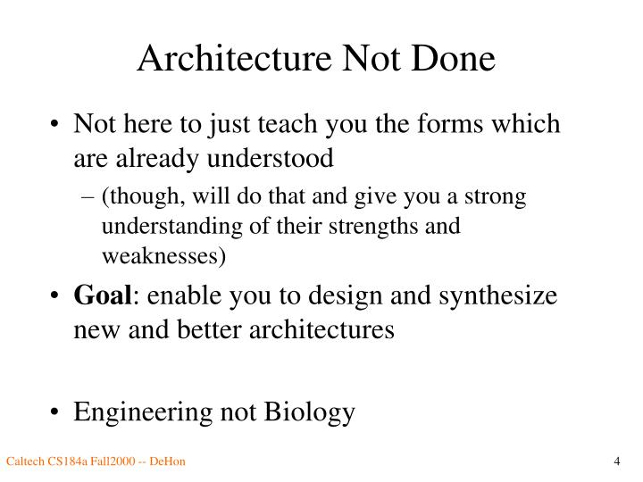 Architecture Not Done