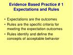 evidence based practice 1 expectations and rules