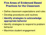 five areas of evidenced based practices for the classroom2