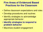 five areas of evidenced based practices for the classroom3