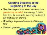 greeting students at the beginning of the day