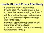 handle student errors effectively