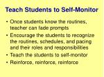 teach students to self monitor