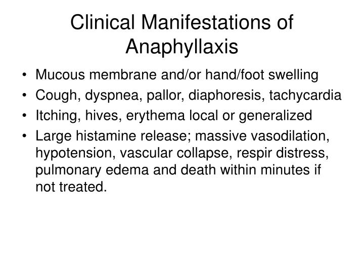 Clinical Manifestations of Anaphyllaxis