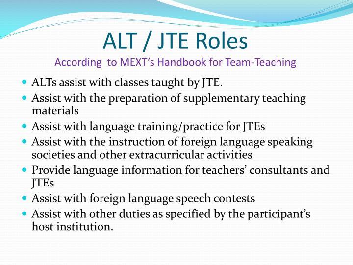 ALT / JTE Roles