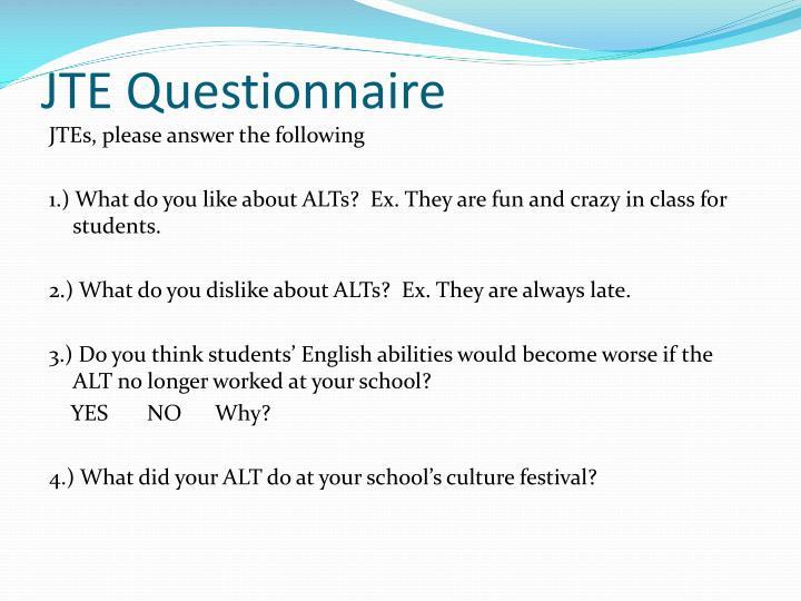 JTE Questionnaire