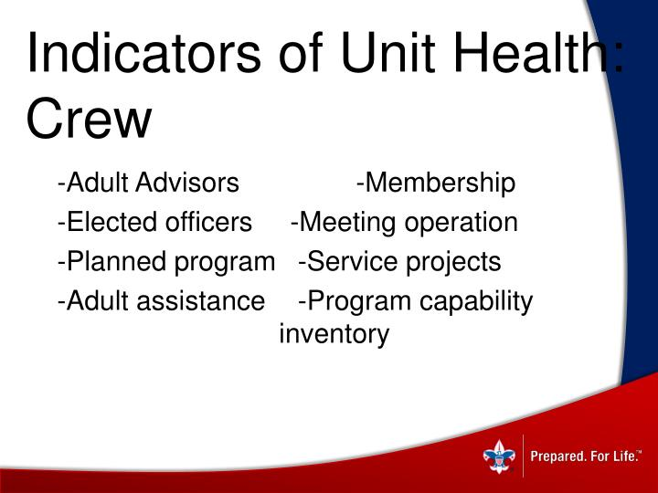 Indicators of Unit Health: Crew