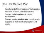 the unit service plan