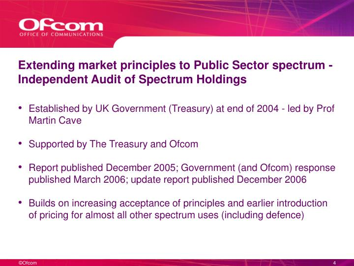 Extending market principles to Public Sector spectrum - Independent Audit of Spectrum Holdings