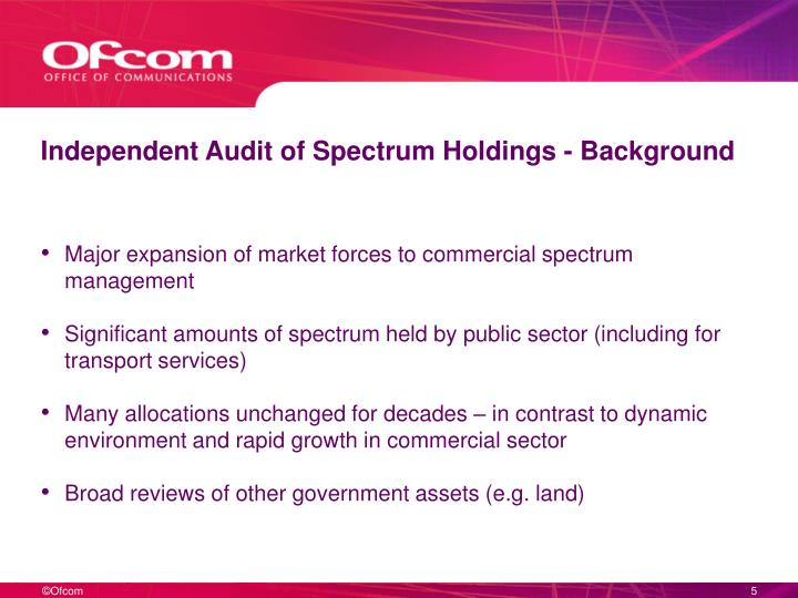 Independent Audit of Spectrum Holdings - Background