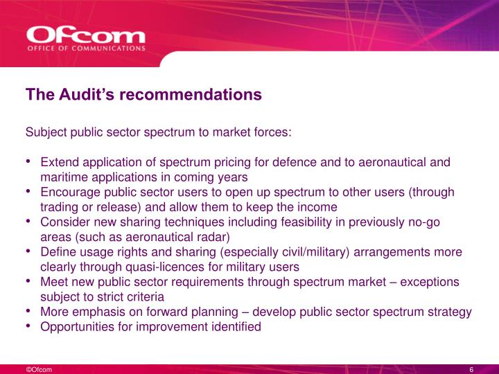 The Audit's recommendations