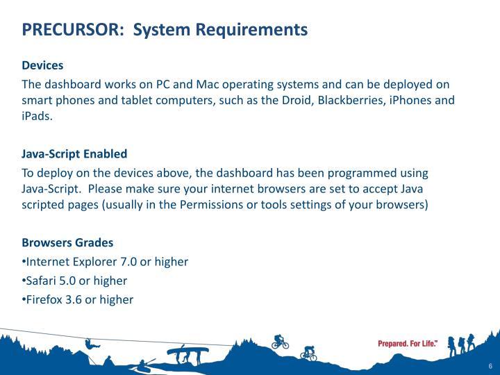 PRECURSOR:  System Requirements