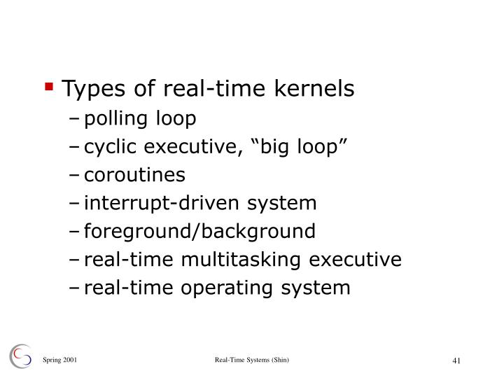 Types of real-time kernels