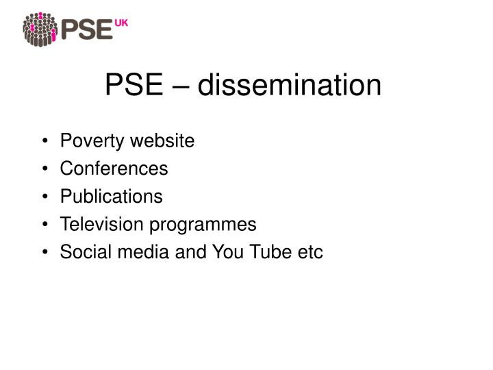 PSE – dissemination