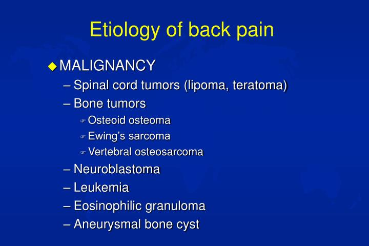 Etiology of back pain