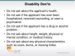 disability don ts