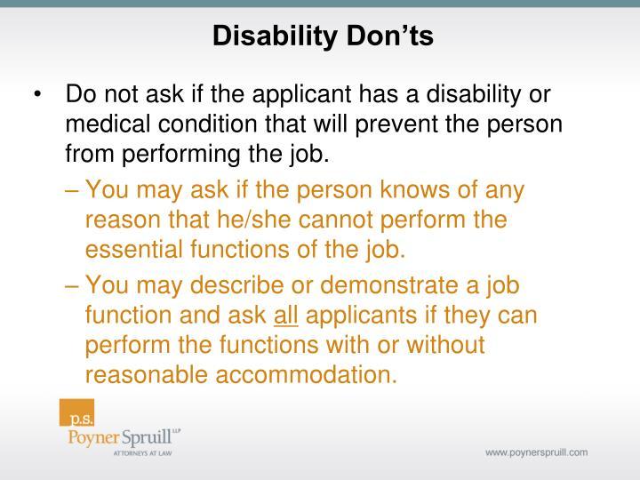 Disability Don'ts
