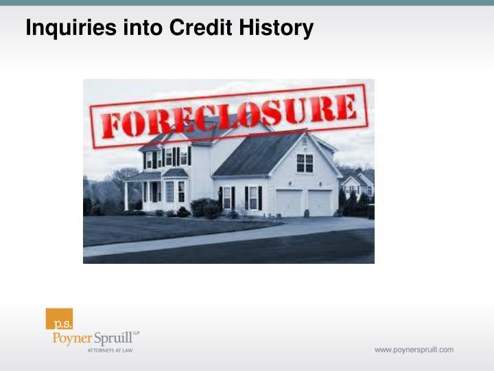 Inquiries into Credit History