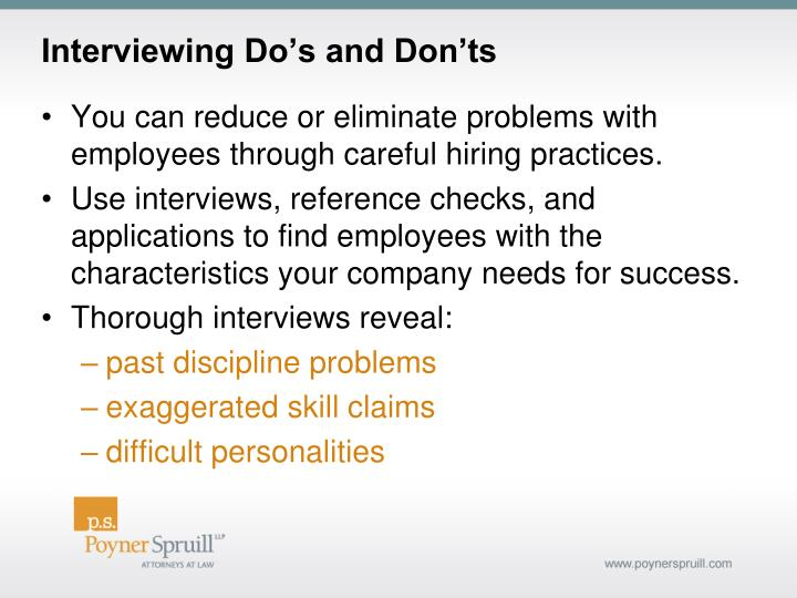 Interviewing Do's and Don'ts