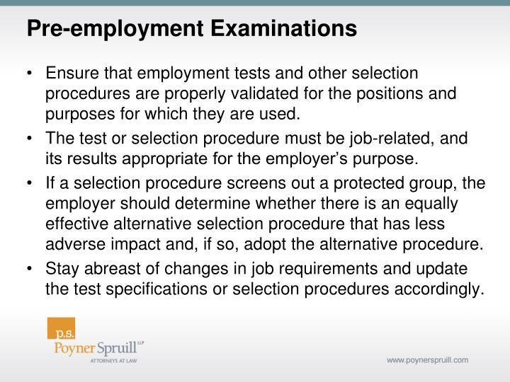 Pre-employment Examinations