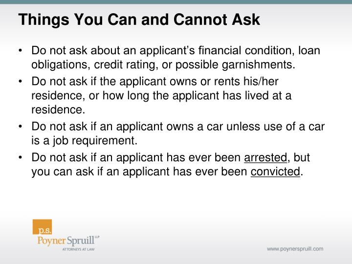 Things You Can and Cannot Ask