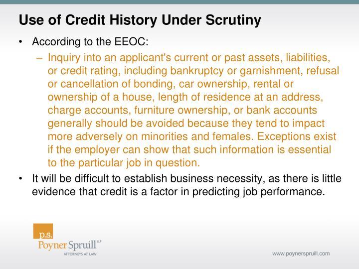 Use of Credit History Under Scrutiny