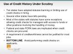 use of credit history under scrutiny1