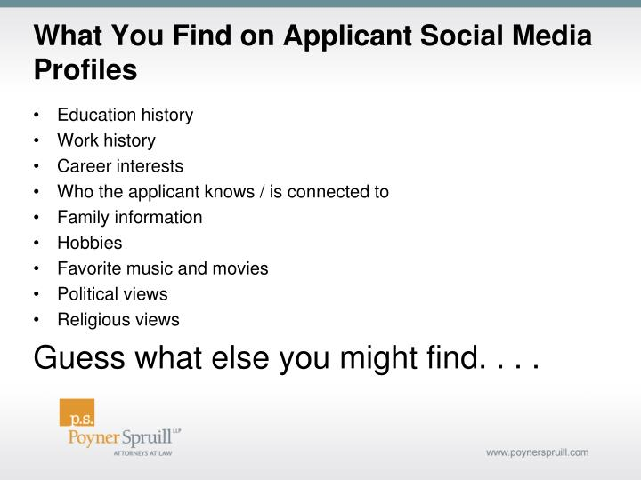 What You Find on Applicant Social Media Profiles