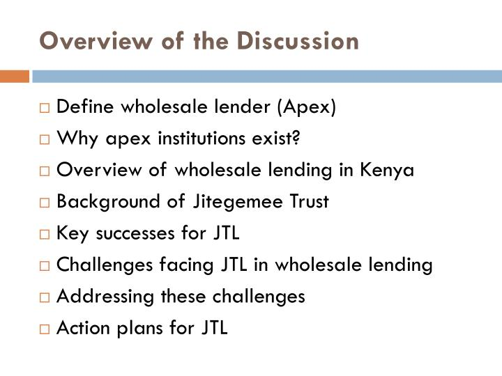 Overview of the Discussion