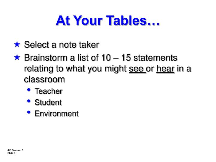 At Your Tables…