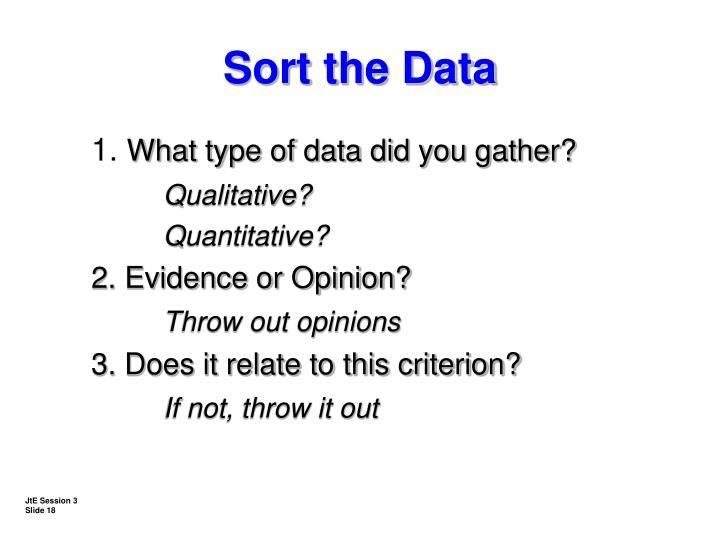Sort the Data