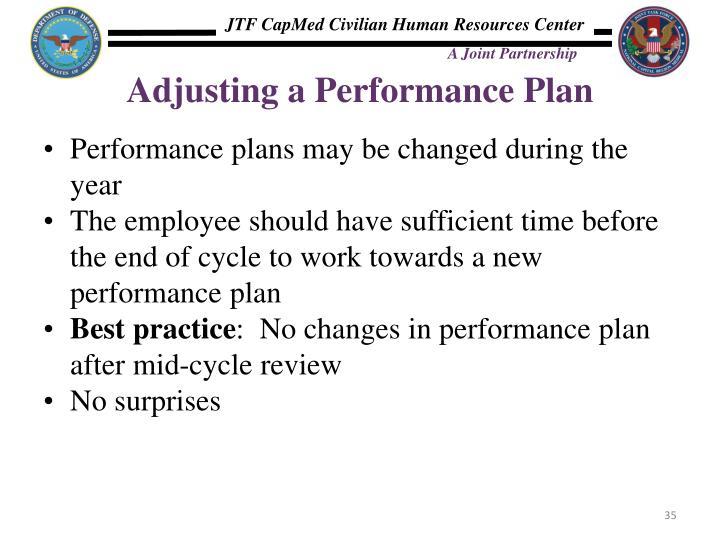 Adjusting a Performance Plan