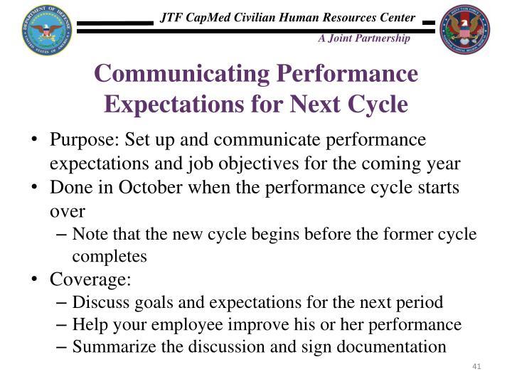 Communicating Performance