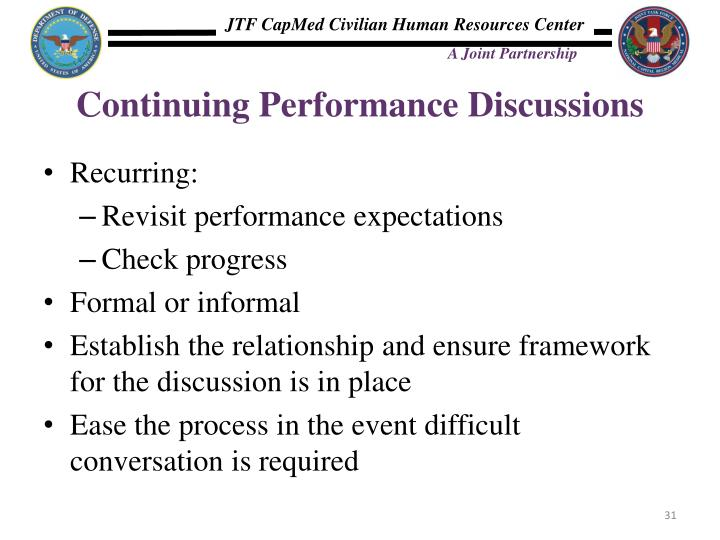 Continuing Performance Discussions