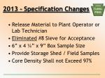 2013 specification changes