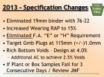 2013 specification changes1