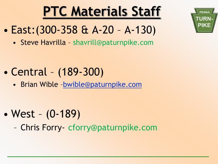 PTC Materials Staff