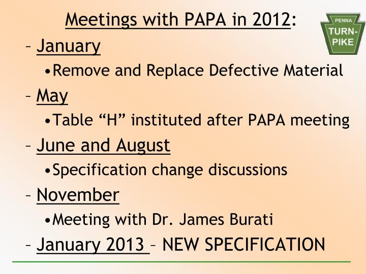 Meetings with PAPA in 2012