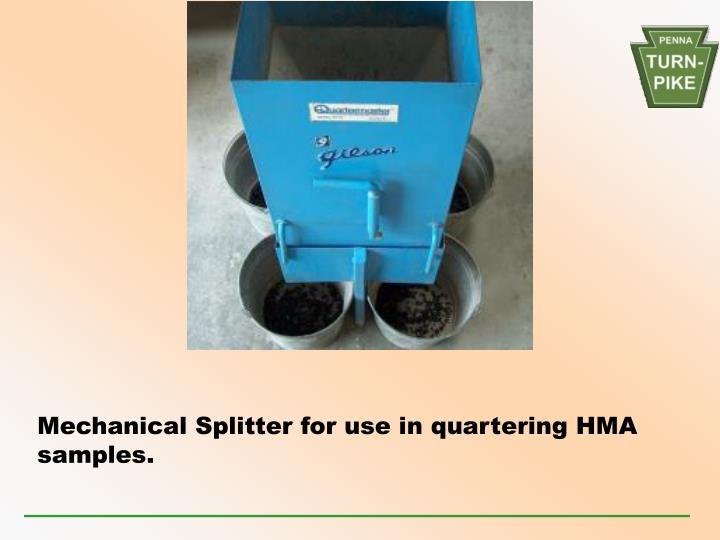 Mechanical Splitter for use in quartering HMA samples.