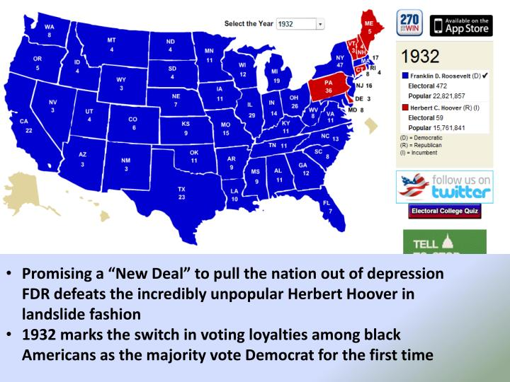 """Promising a """"New Deal"""" to pull the nation out of depression FDR defeats the incredibly unpopular Herbert Hoover in landslide fashion"""