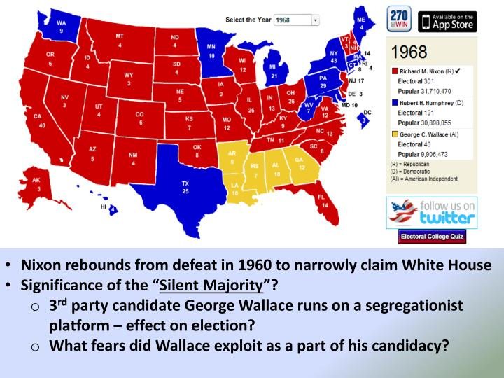 Nixon rebounds from defeat in 1960 to narrowly claim White House