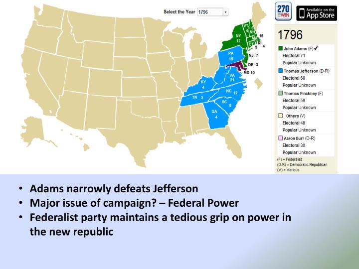 Adams narrowly defeats Jefferson