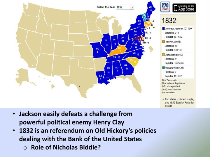 Jackson easily defeats a challenge from powerful political enemy Henry Clay