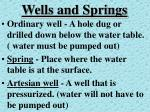 wells and springs