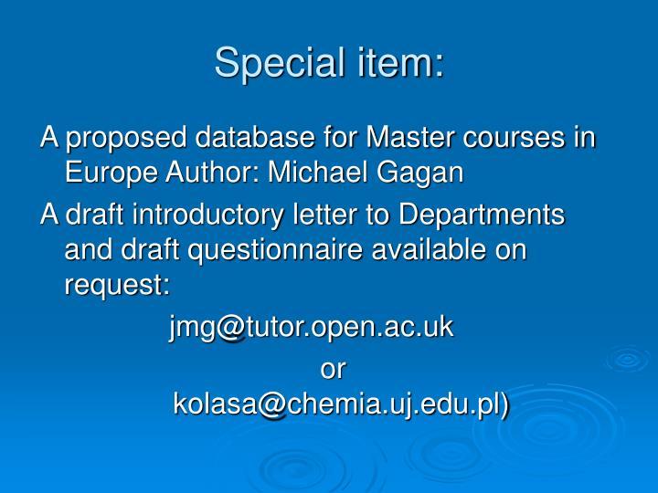 Special item: