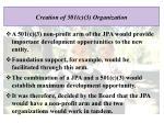 creation of 501 c 3 organization