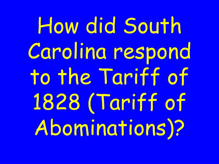 How did South Carolina respond to the Tariff of 1828 (Tariff of Abominations)?