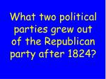 what two political parties grew out of the republican party after 1824