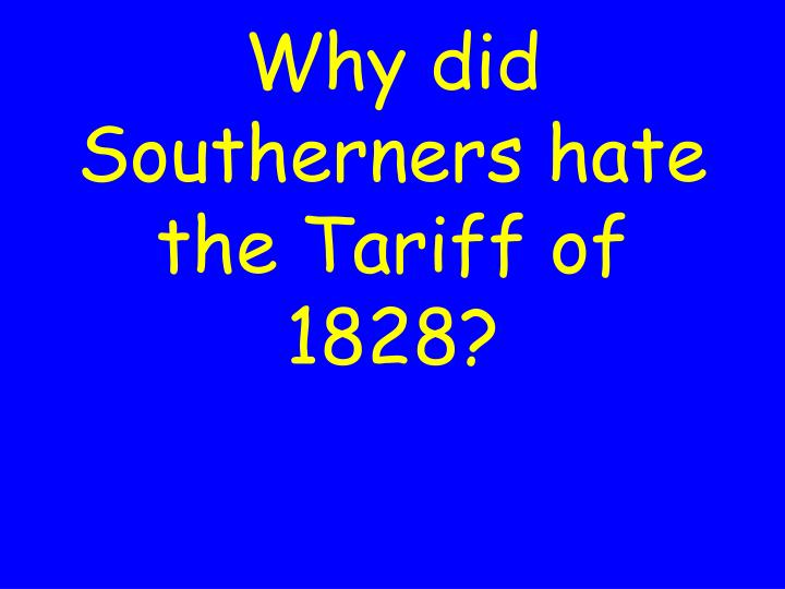Why did Southerners hate the Tariff of 1828?