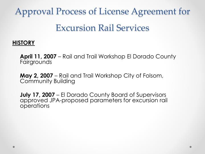 Approval Process of License Agreement for Excursion Rail Services